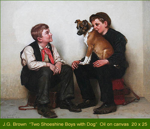 George John Brown - Two Shoeshine Boys with a Dog - William A. Karges Fine Art
